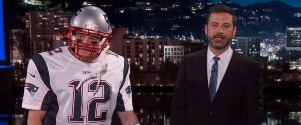 "PHOTO: Matt Damon on ""Jimmy Kimmel Live"" dressed at Tom Brady, Feb. 7, 2017."