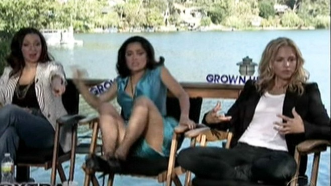 VIDEO: Selma Hayek and Maria Bello scream and jump after seeing a snake during a TV interview.