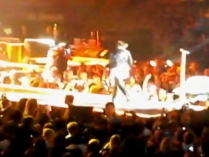 VIDEO: Joe Perry knocks Steven Tyler off the stage during a Toronto concert.