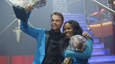 """PHOTO: Amber Riley and Derek Hough were crowned Season 17 Champions and awarded the coveted Mirror Ball Trophy, on the two-hour Season Finale on """"Dancing with the Stars"""" on Nov. 26, 2013."""