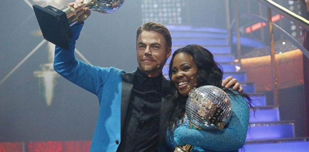 "PHOTO: Amber Riley and Derek Hough were crowned Season 17 Champions and awarded the coveted Mirror Ball Trophy, on the two-hour Season Finale on ""Dancing with the Stars"" on Nov. 26, 2013."