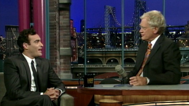 VIDEO: Joaquin Phoenix talks to David Letterman sans beard and odd behavior.