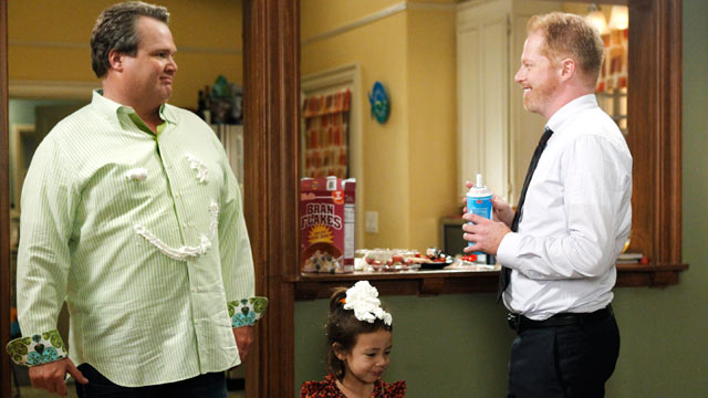 "PHOTO: Eric Stonestreet and Jesse Tyler Ferguson star as Cam and Mitchell in ""Modern Family""."