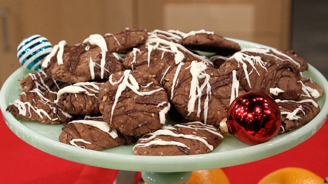 PHOTO:Tarina's Double Chocolate Drizzled Hazelnut Cookies are shown here.