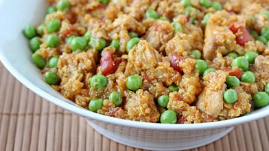 PHOTO: Erin Chase's curried quinoa with chicken and peas is shown here.