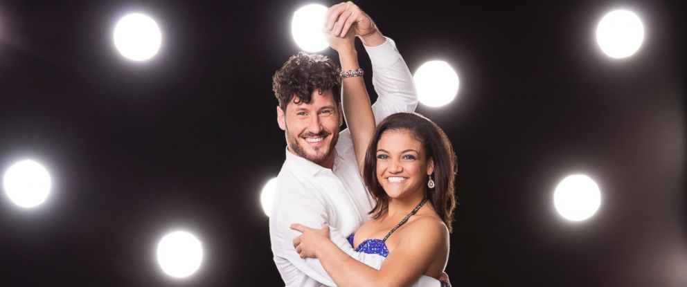 """PHOTO: Olympic gold medalist Laurie Hernandez with her """"Dancing With The Stars"""" professional dance partner Val Chmerkovskiy."""