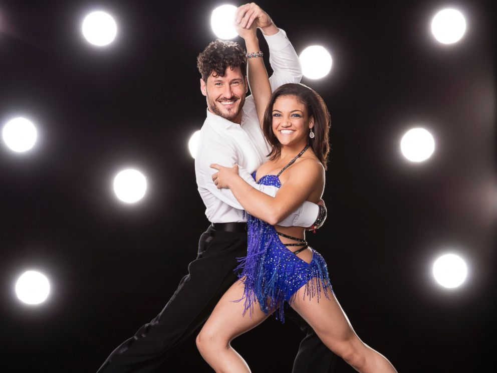 PHOTO: Olympic gold medalist Laurie Hernandez with her Dancing With The Stars professional dance partner Val Chmerkovskiy.