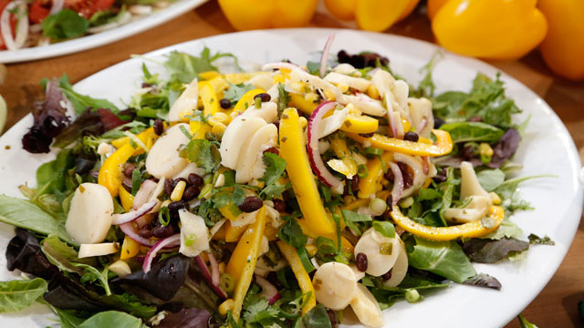 PHOTO: Emeril's hearts of palm, black bean, red onion and corn salad is shown here.