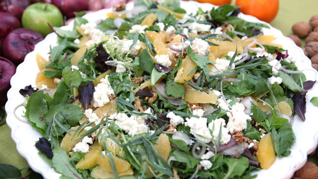 PHOTO: Emeril's goat cheese, walnut and orange salad is shown here.