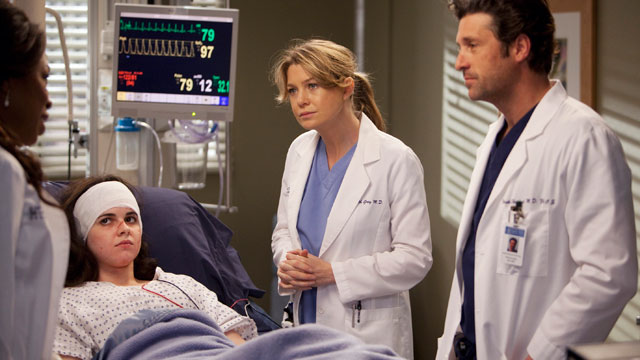"PHOTO: Ellen Pompeo and Patrick Dempsey are shown in a scene from ""Grey's Anatomy""."