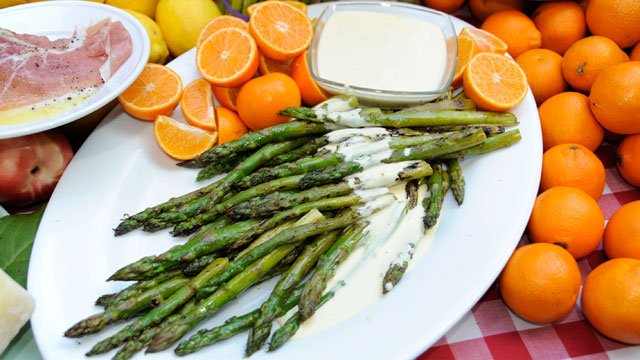 PHOTO: Cat Cora's grilled asparagus with tangerine aioli is shown here.