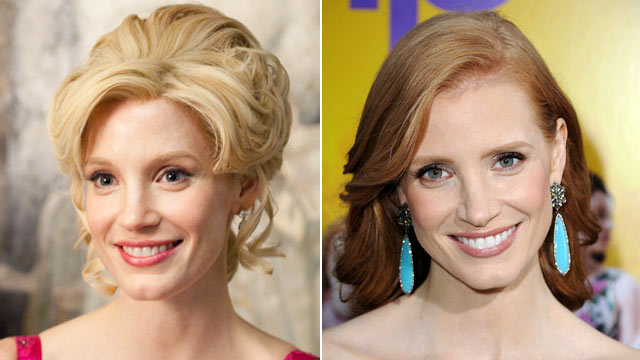 "PHOTO: Jessica Chastain is shown in a scene from the movie, ""The Help,"" left, and arriving at the film's Los Angeles Premiere held at the Academy of Motion Picture Arts and Sciences' Samuel Goldwyn Theater, Aug. 9, 2011 in Beverly Hills, Calif."