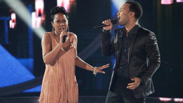 "PHOTO: John Legend and Bridget Carrington perform together on ""Duets"" on June 20, 2012."