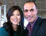 """PHOTO: Nigel Barker, one of the worlds top fashion photographers, shows ABCs Juju Chang how to take a great """"selfie"""" with the camera on her iPhone."""