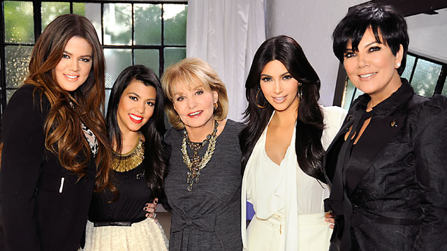 """PHOTO: Barbara Walters interviews the Kardashians for her annual """"Most Fascinating People"""" special airing on the ABC Television Network."""