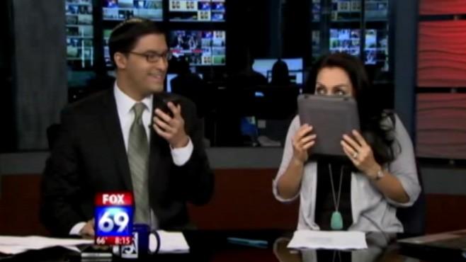 VIDEO: San Diego morning show anchor licks iPad in April Fools' joke.