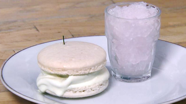 """PHOTO: """"Nightline"""" Platelist chef Jerome Chang shares his recipe for making a lemon-basil-lavender granita with a honey rosemary ice cream macaroon sandwich."""