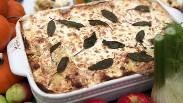PHOTO: Emeril's pumpkin sage lasagna is shown here.