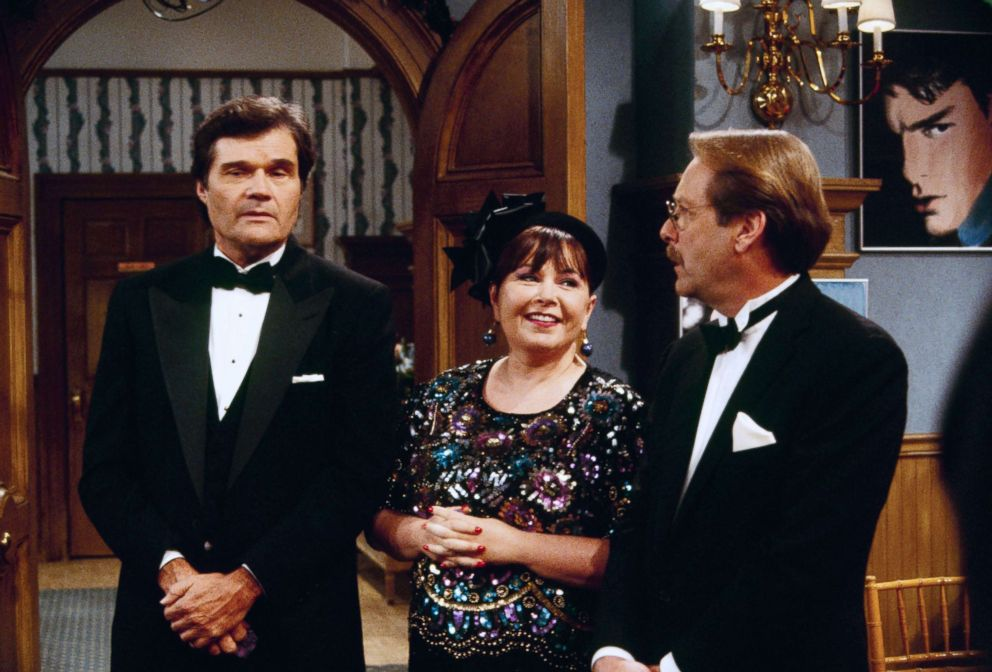 PHOTO: Fred Willard, Roseanne Barr and Martin Mull appear in December Bride episode of Roseanne, which aired on Dec. 12, 1995.