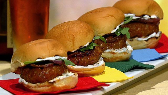 PHOTO:Michael Symon's spicy sausage sliders are shown here.