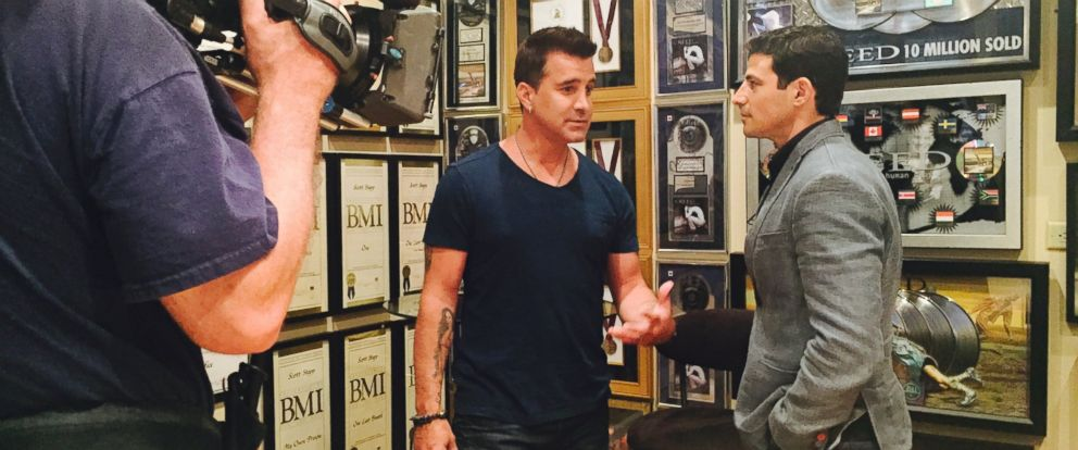 Former Creed frontman Scott Stapp, center, is seen here with ABCs Matt Gutman, right, during an exclusive interview for ABC News.