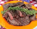 PHOTO: Richard Blais skirt steak with salsa verde is shown here.
