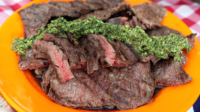 PHOTO: Richard Blais' skirt steak with salsa verde is shown here.