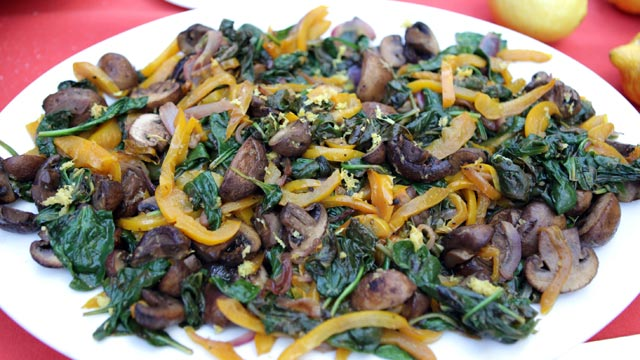 PHOTO: Mario Batali's sauteed spinach with cremini and pepper is shown here.
