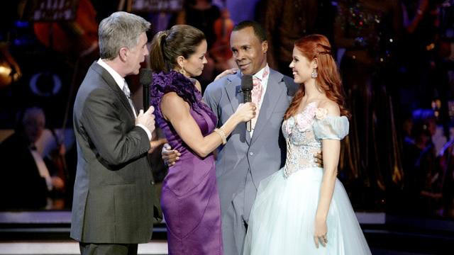 "PHOTO: Sugar Ray Leonard and Anna Trebunskaya, was asked to leave the ballroom, on ""Dancing with the Stars the Results Show,"" April 12, 2011 on the ABC Television Network."