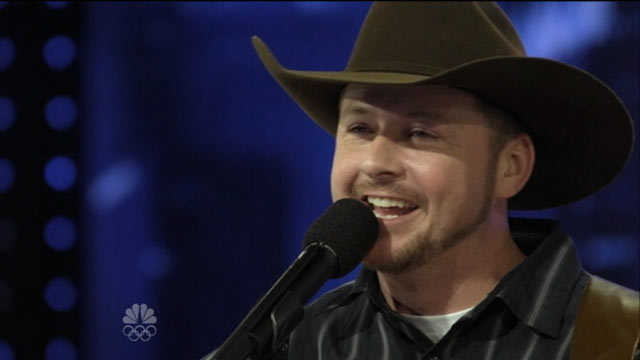 PHOTO: Timothy Michael Poe performs a piece by Tim McGraw on Americas Got Talent on June 4, 2012.