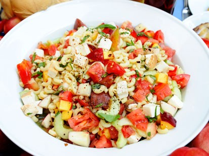 Photo Ted Allens Summer Pasta Salad With Peaches And Tomatoes Is Shown Here