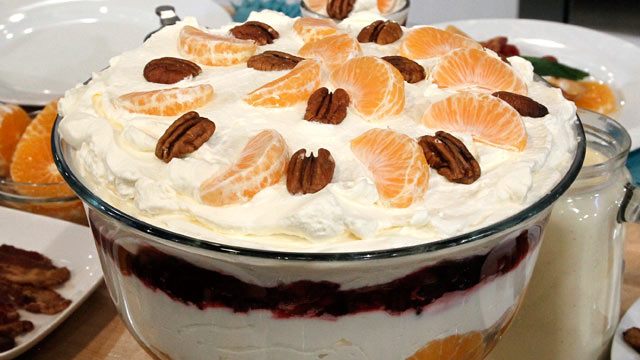 PHOTO: The Twin Chefs' mandarin pecan and cranberry trifle is shown here.