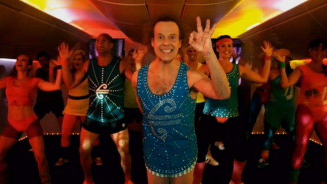 VIDEO: The fitness guru stars in a safety video for Air New Zealand.