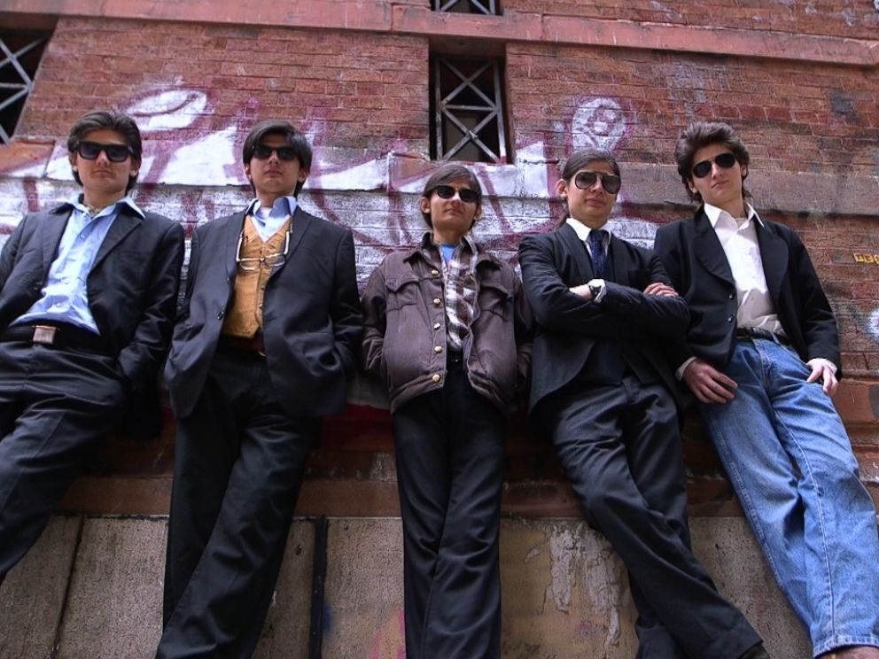 Five of the Angulo brothers, from left to right, Bhagavan, Govinda, Narayana, Makunda, and Jagadisa (now Eddie). featured in The Wolfpack are shown here during an interview with ABC News 20/20.