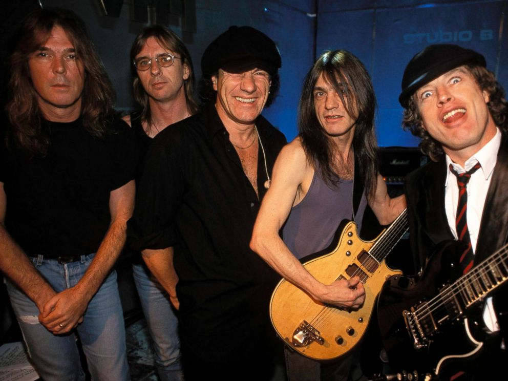 PHOTO: Members of the rock band AC/DC pose for a group photo in London, July 5, 1996.