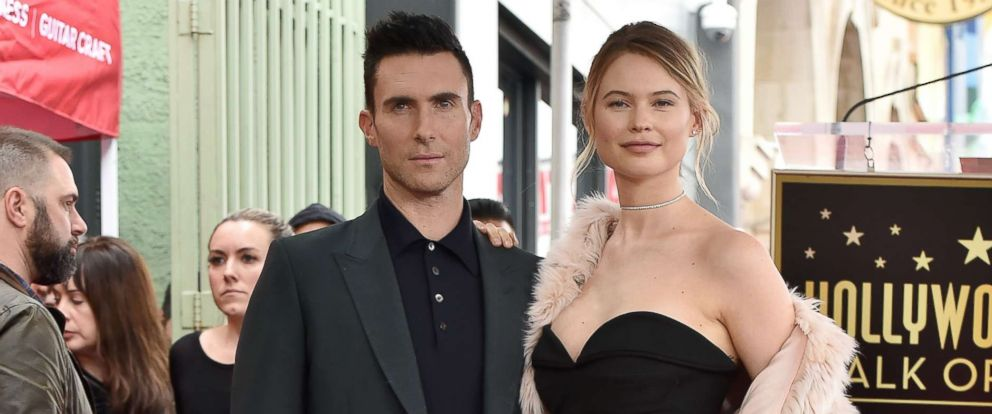 PHOTO: Adam Levine and Behati Prinsloo attend the ceremony honoring Adam Levine with a star on the Hollywood Walk of Fame, Feb. 10, 2017, in Hollywood, California.