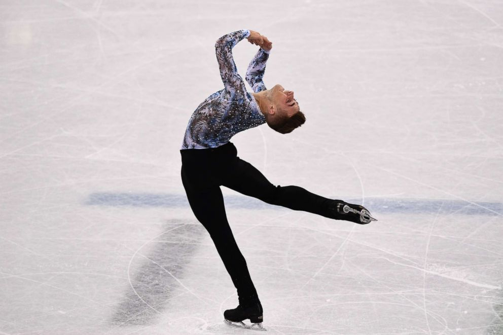 PHOTO:Adam Rippon competes in the figure skating team event mens single at the 2018 Winter Olympic Games, Feb. 12, 2018.