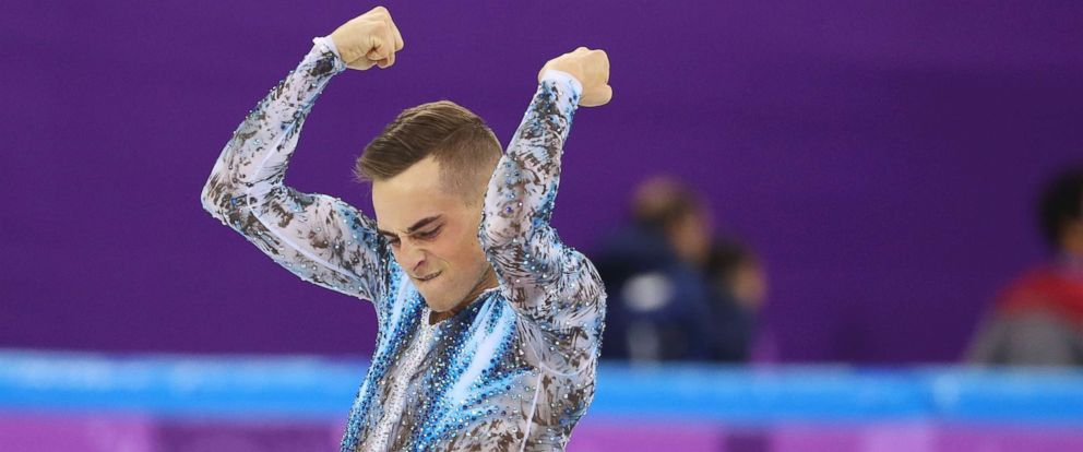 PHOTO: Adam Rippon of the U.S. reacts during his mens singles free skate as part of the team figure skating competition of the 2018 Winter Olympics, Feb. 12, 2018.
