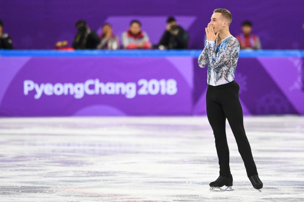 PHOTO: Adam Rippon reacts after finishing his routine in the figure skating team event mens single skating free skating at the 2018 Winter Olympic Games, Feb. 12, 2018.