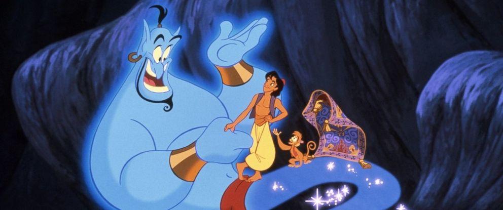 PHOTO: The Genie, Aladdin and Abu appear in Disneys 1992 animated movie Aladdin.