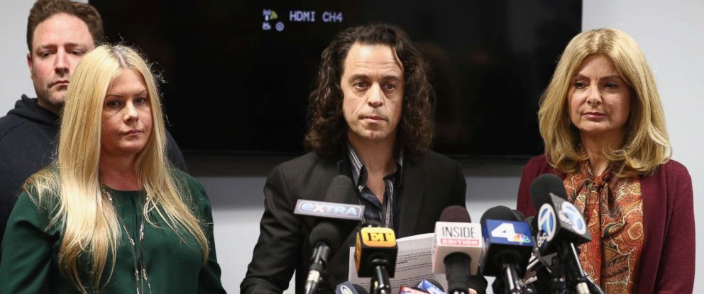 PHOTO: Alexander Polinsky speaks during a press conference with Nicole Eggert (L) and his attorney Lisa Bloom regarding sexual harassment allegations against Scott Baio at The Bloom Firm, Feb. 14, 2018 in Woodland Hills, Calif.