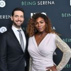 Alexis Ohanian and Serena Williams attend the HBO New York Premiere of 'Being Serena' at Time Warner Center, April 25, 2018, in New York.