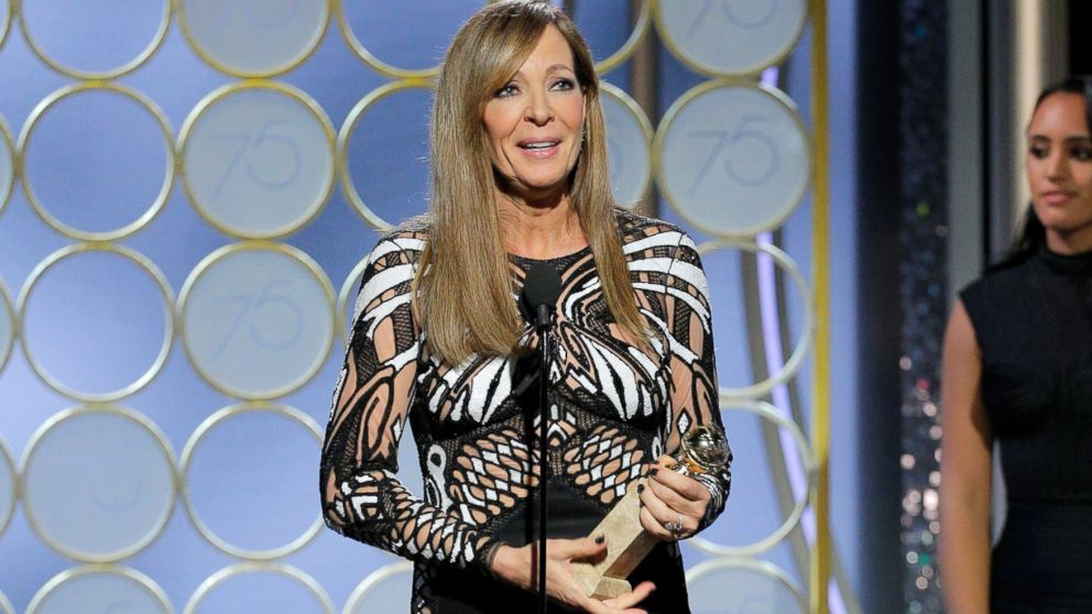 "Allison Janney accepts the award for best supporting actress in a motion picture for her role in ""I, Tonya,"" at the 75th Annual Golden Globe Awards in Beverly Hills, Jan. 7, 2018."