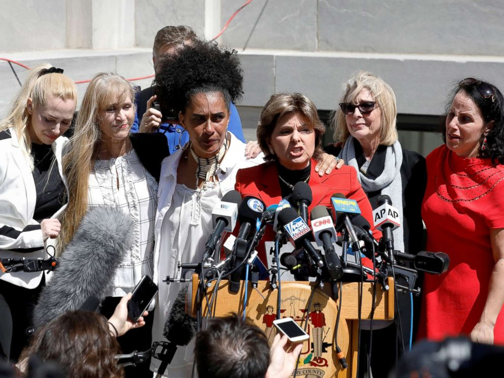 PHOTO: Attorney Gloria Allred stands with accusers of actor and comedian Bill Cosby after a jury convicted him in a sexual assault retrial at the Montgomery County Courthouse in Norristown, Pa., April 26, 2018.