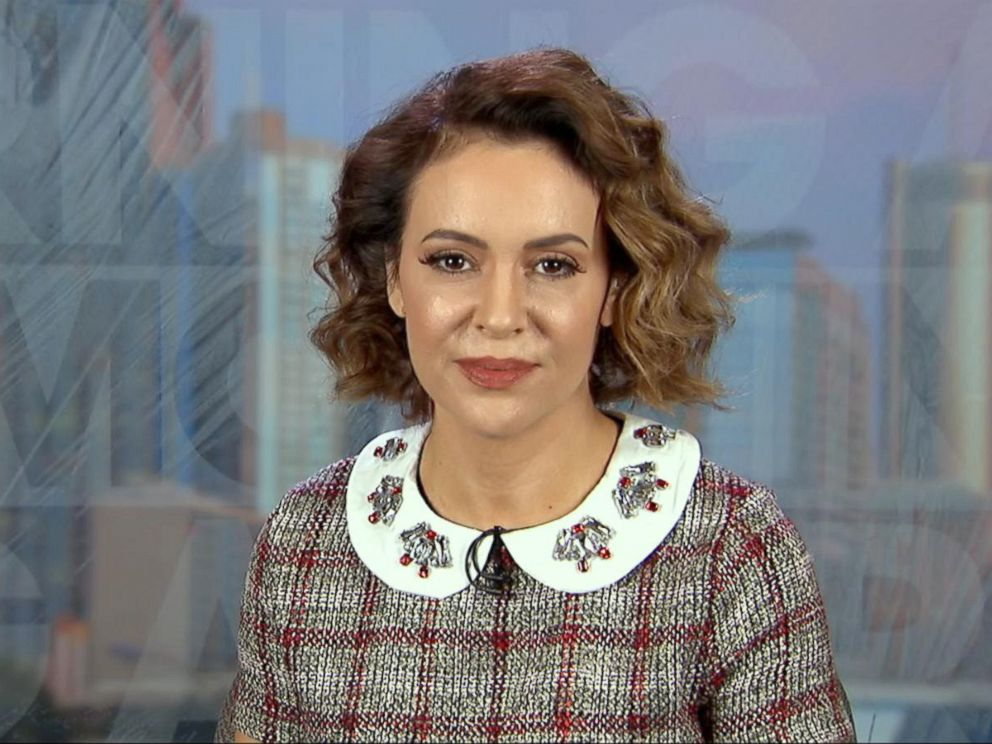 PHOTO: Actress Alyssa Milano opens up about the #MeToo campaign on Good Morning America, Oct. 19, 2017. <p itemprop=
