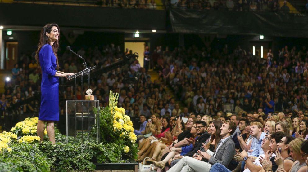 PHOTO: Amal Clooney speaks to the Vanderbilt University class of 2018 on Senior Day in Nashville, Tenn., May 10, 2018.