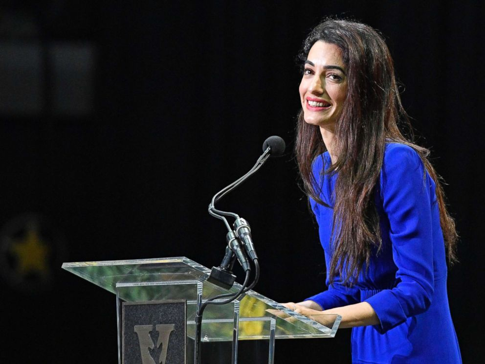 PHOTO: Amal Clooney speaks to the Vanderbilt class of 2018 during Senior Day at Memorial Gym in Nashville, Tenn., May 10, 2018.