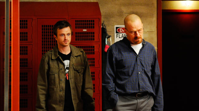 """PHOTO: Jesse Pinkman (Aaron Paul) and Walter White (Bryan Cranston), seen here as co-stars on """"Breaking Bad"""", recently endorsed Michael Ulin for high school class president via a Youtube video."""