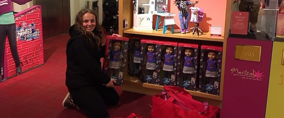 PHOTO: Olivia Reduto donated six American Girl dolls to Yonkers Public Library.