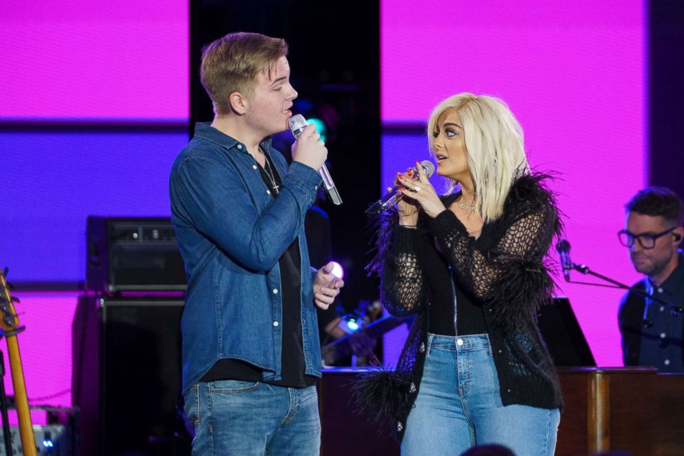 PHOTO: Caleb Lee Hutchinson and Bebe Rexha on an episode of American Idol, which aired April 16, 2018.